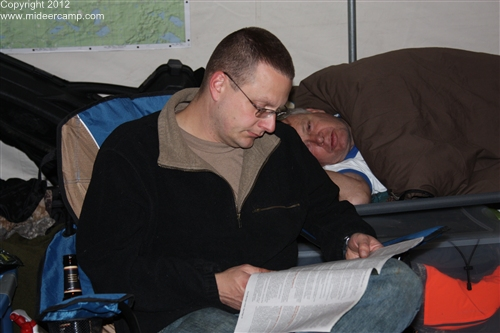 Dave reading the game laws, pic34