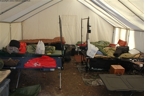 The inside of the wall tent