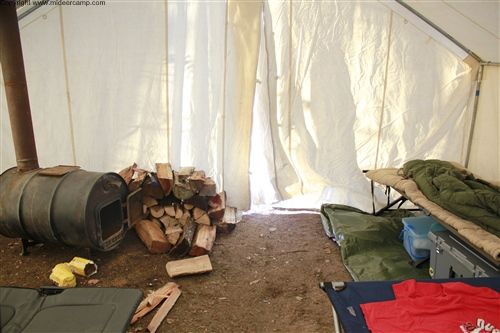 Wood burner in the wall tent