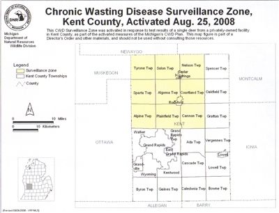 Map of CWD Surveillance Zone, Kent County